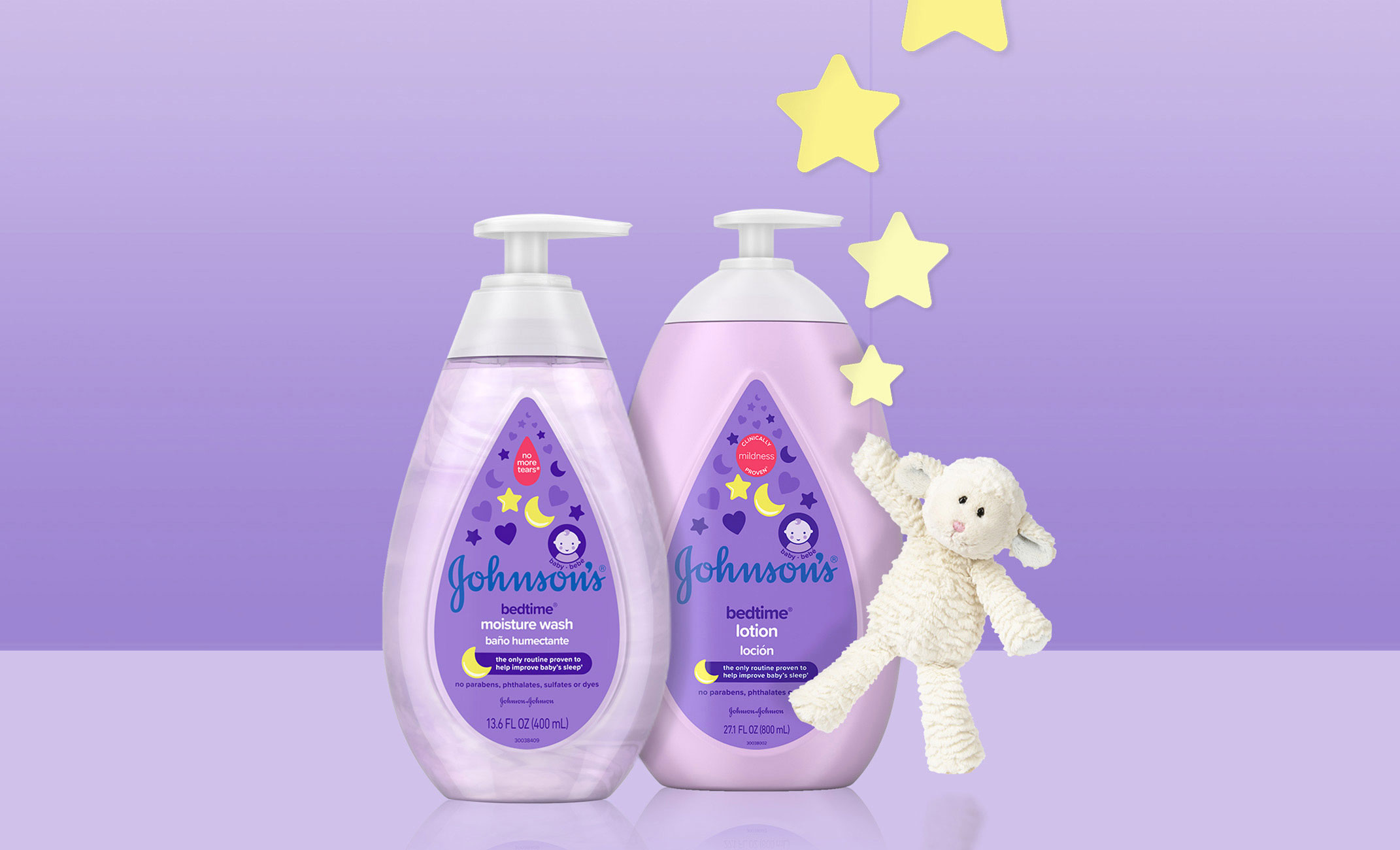 Johnson's® Bedtime® baby lotion and moisture wash